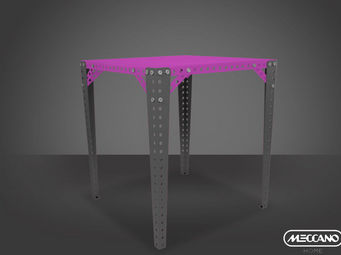 ACHATDESIGN - meuble meccano meccano color table haute rose - Mange Debout