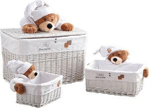 Aubry-Gaspard - coffre à jouets et 2 corbeilles mes jouets ourson - Coffre À Jouets