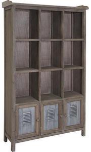 Aubry-Gaspard - bibliothèque 12 cases en pin et métal 90x30x150cm - Bibliothèque Ouverte