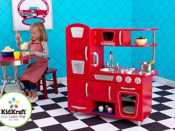 KidKraft - cuisine pour enfant vintage rouge en bois 83x29x90 - Jouets De Poup�e