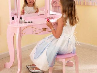 KidKraft - coiffeuse rose princesse en bois avec tabouret 80x - Jouets De Poup�e