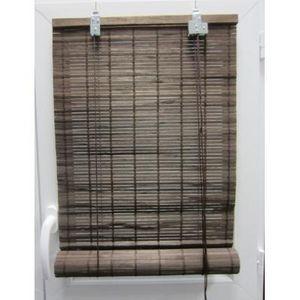 Luance - store enrouleur lattes bambou marron 40x180 cm - Store Enrouleur