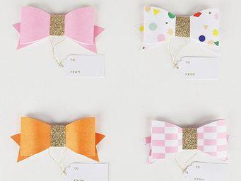 MY LITTLE DAY - 4 gifts tag noeuds roses meri meri - Etiquette Cadeau De No�l