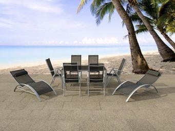 BELIANI - table 160 cm, 6 chaises, 2 transats - Salle À Manger De Jardin