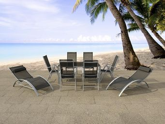 BELIANI - table 160 cm, 6 chaises, 2 transats - Salle � Manger De Jardin