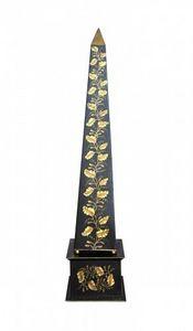 Demeure et Jardin - grand obelisque noir et or - Obélisque