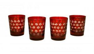 Demeure et Jardin - ensemble de 4 verres a whisky rouges - Verre � Whisky