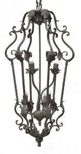 Demeure et Jardin - grande lanterne fer forgé 6 feux taupe - Suspension D'extérieur