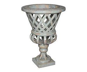 Demeure et Jardin - vase tressé en bois patiné gris - Vase Décoratif
