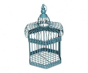 Demeure et Jardin - cage décorative bleue - Cage À Oiseaux