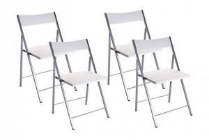WHITE LABEL - belfort lot de 4 chaises pliantes blanc - Chaise Pliante