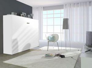 WHITE LABEL - armoire lit linea transversale façade blanc mat, c - Lit Escamotable