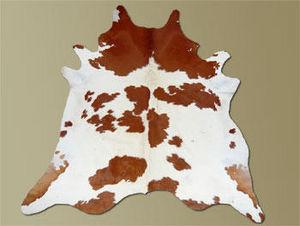 WHITE LABEL - tapis de peau de vache blanc marron naturel - Peau De Vache