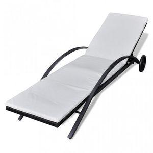 WHITE LABEL - transat de jardin relax noir - Chaise Longue De Jardin