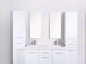 UsiRama.com - meuble double vasques think blanc 2 colones 1.8m - Meuble Double Vasque