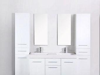 UsiRama.com - meuble double vasques think blanc 2 colones 1.8m - Meuble Double Vasque