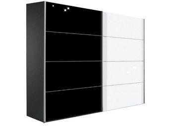 WHITE LABEL - dressing kick 252cm en verre blanc brillant et mel - Armoire � Portes Coulissantes