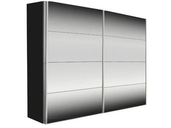 WHITE LABEL - dressing kick 252cm miroir et cadre noir avec port - Armoire � Portes Coulissantes