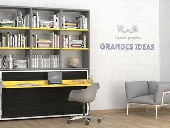 WHITE LABEL - armoire lit transversale ares avec bureau et étagè - Armoire Lit
