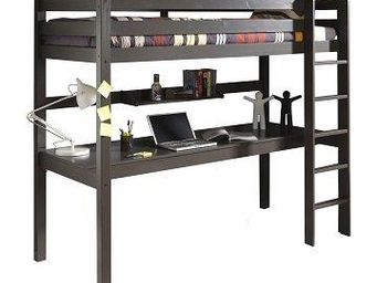 WHITE LABEL - lit bureau mezzanine pino en pin vernis taupe - Lit Mezzanine