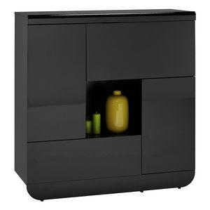 WHITE LABEL - armoire de rangement noir laqu� design - Vaisselier