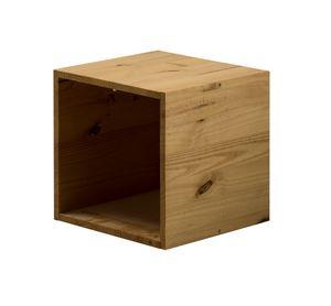 WHITE LABEL - cube de rangement en pin massif coloris antique - Caisse De Rangement