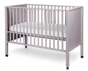 WHITE LABEL - lit bébé avec roulettes 60x120cm coloris gris - Lit Pliant Bébé