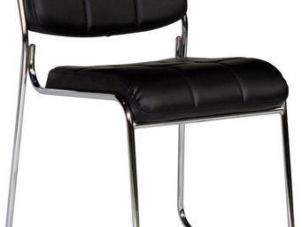 WHITE LABEL - chaise capitonn�e sans accoudoirs coloris noir mod - Chaise De Bureau