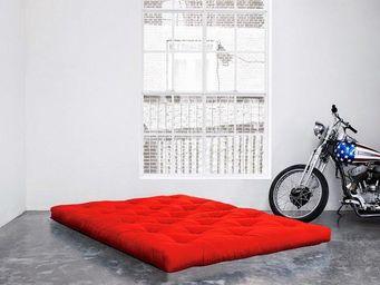 WHITE LABEL - matelas futon coco rouge 200*200*16cm - Futon