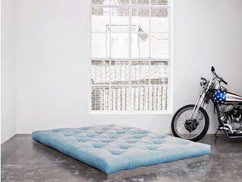 WHITE LABEL - matelas futon coco bleu celeste 200*200*16cm - Futon