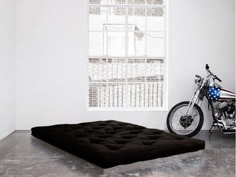 WHITE LABEL - matelas futon double latex noir 140*200*18cm - Futon