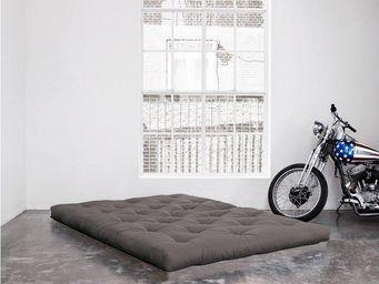 WHITE LABEL - matelas futon double latex gris 140*200*18cm - Futon