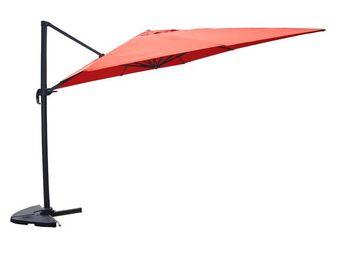 WHITE LABEL - parasol rotatif terracotta 3*4 m - bronze - l 300 - Parasol Excentré