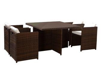 TOUSMESMEUBLES - salon de jardin 4 fauteuils chocolat - aitutaki - - Salle � Manger De Jardin