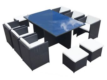 TOUSMESMEUBLES - salon de jardin noir - ostara - l 180 x l 115 x h - Salle � Manger De Jardin