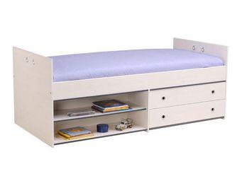 WHITE LABEL - lit à tiroirs 90*190 cm pin blanc - oggy - l 96 x - Lit Enfant