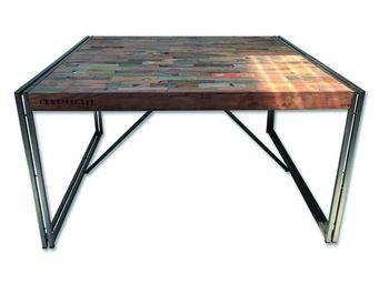 TOUSMESMEUBLES - table de repas en bois carr�e 140 cm� - industry - - Table De Repas Carr�e