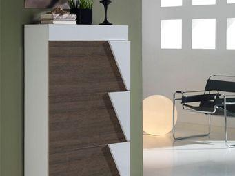 WHITE LABEL - meuble à chaussures blanc/chêne foncé - luzia - l - Meuble À Chaussures