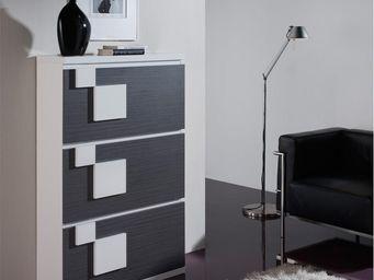 WHITE LABEL - meuble à chaussures cendre/blanc - squadra n°2 - l - Meuble À Chaussures