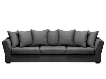 Home Spirit - canapé fixe watson 5 places tissu tweed noir - Canapé 5 Places