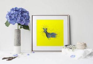 la Magie dans l'Image - print art chevreuil jaune - Estampe