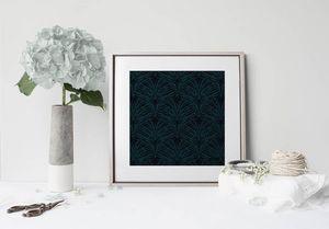 la Magie dans l'Image - print art plumes de paon noire - Poster