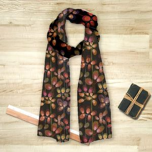 la Magie dans l'Image - foulard beautiful flowers black - Foulard Carré