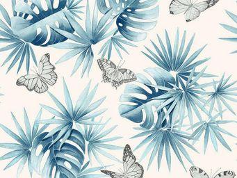 THEVENON - l'ile aux papillons bleu azur fond cra¨m - Tissu D'ameublement