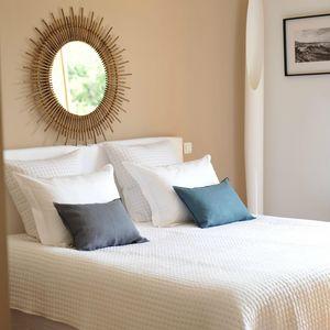MAISON D'ETE - dessus de lit plumetis blanc - noir - Couvre Lit