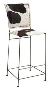 Aubry-Gaspard - tabouret de bar en peau de vache et métal - Chaise Haute De Bar