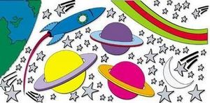 Funtosee - espace - Sticker Décor Adhésif Enfant