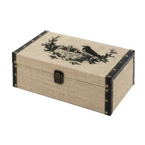 CHEMIN DE CAMPAGNE - coffre boîte de rangement bois toile de jute 30x19 - Malle