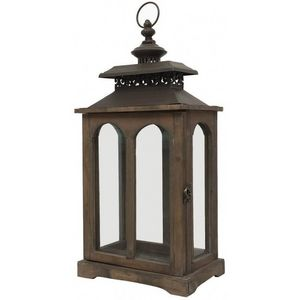 CHEMIN DE CAMPAGNE - style ancienne lanterne à bougie bois et fer 56 cm - Lanterne D'intérieur