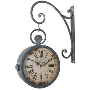 CHEMIN DE CAMPAGNE - style ancienne horloge de gare double face murale  - Horloge Murale